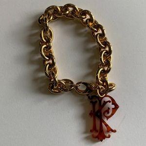 Jewelry - Gold link Tortoise Shell KP monogram bracelet
